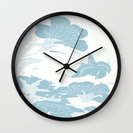 japanese Flowers White and Blue Wall Clock