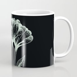 Minimal flower duo art in black and light green/turquoise Coffee Mug