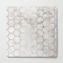 Honeycomb Marble Rose Gold #358 Metal Print