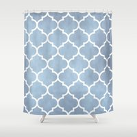 morocco Shower Curtains featuring MOROCCO - SLATE by pike design