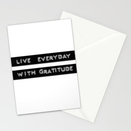 Live Everyday with Gratitude Vintage Label Maker Stationery Cards