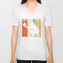 Retro 1970's Style Catcher Silhouette Baseball Unisex V-Neck