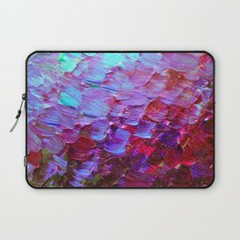 MERMAID SCALES - Colorful Ombre Abstract Acrylic Impasto Painting Violet Purple Plum Ocean Waves Art Laptop Sleeve