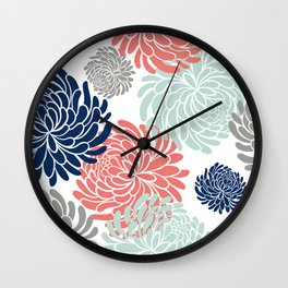 Floral, Chrysanthemums, Coral, Pink, Aqua, Navy, Blue Wall Clock