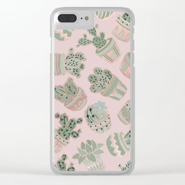 Blush pink mint green rose gold cactus floral Clear iPhone Case