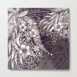 Polynesian Tribal Tapa Threads Metal Print