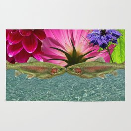 Kissing Trout with Water and Flower Rug