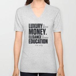 Sacha Guitry, inspirational quote, classy gentleman luxury & money, elegance & education, politeness Unisex V-Neck