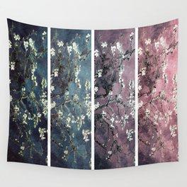 Vincent Van Gogh : Almond Blossoms Panel aRt Dark Pink Eggplant Teal Wall Tapestry