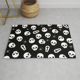 Skull, spider and chest  - Halloween pattern Rug