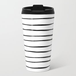 Watercolor Black Inky stripes Travel Mug
