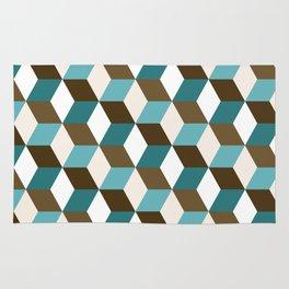Cubes Pattern Teals Browns Cream White Rug
