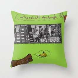where is all the jungle sketch Throw Pillow