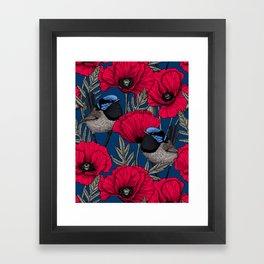 Fairy wren and poppies Framed Art Print