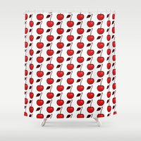 cherry Shower Curtains featuring Cherry by René Barth