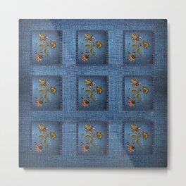 Denim Design With Jacobean Floral Metal Print