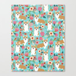 Welsh Corgi floral spring garden nature dog art pet portrait corgis must have gifts for dog person  Canvas Print