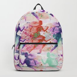 Watercolor women runner pattern with red mint and dark purple Backpack