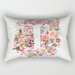 Initial Letter I Watercolor Flower Rectangular Pillow