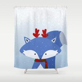 Cute Fox Wintery Holiday Design Shower Curtain