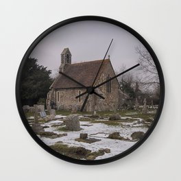 Seasalter Old Church In Winter Wall Clock