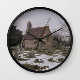 Seasalter Old Church In Winter Wall Clock
