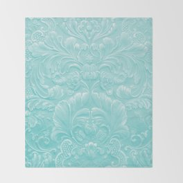 Robin Egg Blue Tooled Leather Throw Blanket