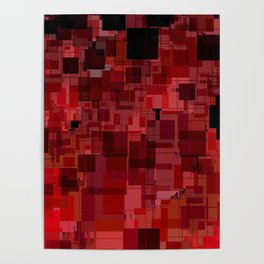 Red and Black Square Patchwork Overlay Poster