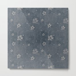 Charcoal Gray Grunge Flowers and Hearts Pattern Gift Ideas Metal Print