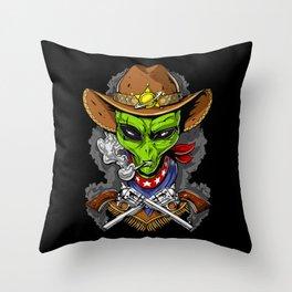 Cowboy Alien Throw Pillow