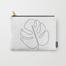 Abstract monstera tropical leaf line art Carry-All Pouch