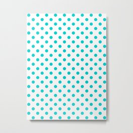 Small Polka Dots - Cyan on White Metal Print