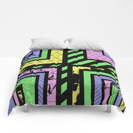 Pastel Corners (Abstract, geometric, textured designs) Comforters
