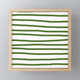 Simply Drawn Stripes in Jungle Green Framed Mini Art Print