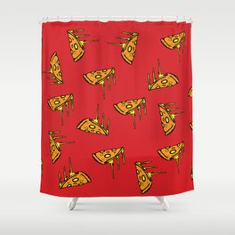 Pepperoni Pizza Dripping Cheese by the Slice Pattern (red) Shower Curtain