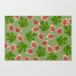 Figs and Fig Leaves green Canvas Print