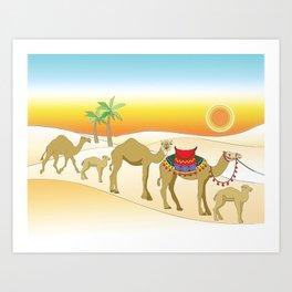 Exodus, Camels in the Desert, Passover Art Print