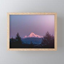 Mt. Hood Rose Gold Sunset Glow - Nature Photography Framed Mini Art Print
