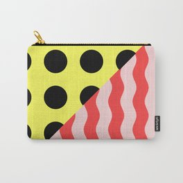 Polka Waves - black and yellow polka dots and red and pink waves Carry-All Pouch