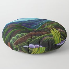 The Primeval Forest landscape painting by Gerardo Dottori Floor Pillow