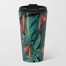 Tropical Butterfly Jungle Night Leaves Pattern #2 #tropical #decor #art #society6 Travel Mug