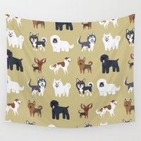russian Wall Tapestries featuring RUSSIAN DOGS by DoggieDrawings