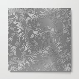 Luxury chic faux silver glitter floral Metal Print