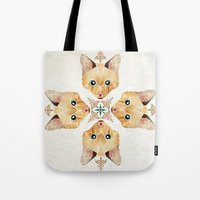 kitten Tote Bags featuring kitten by Manoou