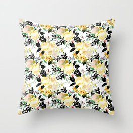 Watercolor pink yellow black boho roses flowers Throw Pillow