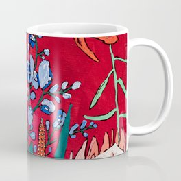 Red and Blue Floral with Peach Proteas Coffee Mug