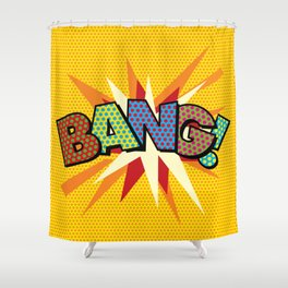 Comic Book Pop Art Sans BANG! Shower Curtain