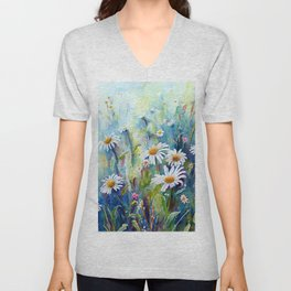 Watercolor Daisy Field Unisex V-Neck