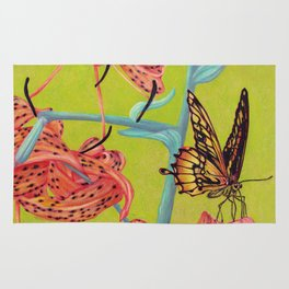 Tiger Lilies with Butterfly Rug