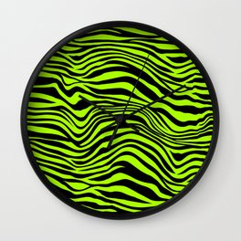 Freaky Zebra Lime Green  Wall Clock